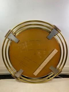 Jay Spectre MONUMENTAL MODERN TRIPLE BRASS RING MIRROR WITH LAPIS LAZULI ENAMEL MIRROR - 1439692