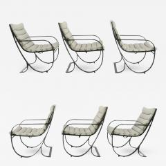Jay Spectre Set of Six Jay Spectre for Brown Jordan Midnight Blue Metal Dining Chairs - 383937