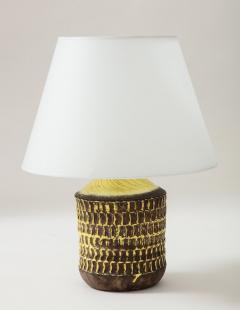 Jean Besnard Jean Besnard Rare Yellow Glaze Ceramic Lamp with Custom Parchment Shade - 1246418