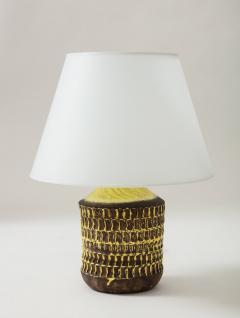 Jean Besnard Jean Besnard Rare Yellow Glaze Ceramic Lamp with Custom Parchment Shade - 1246420