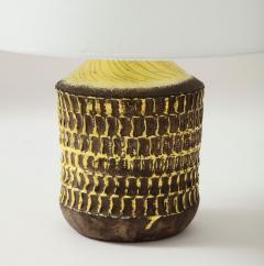 Jean Besnard Jean Besnard Rare Yellow Glaze Ceramic Lamp with Custom Parchment Shade - 1246422
