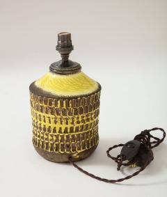 Jean Besnard Jean Besnard Rare Yellow Glaze Ceramic Lamp with Custom Parchment Shade - 1246428