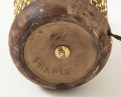 Jean Besnard Jean Besnard Rare Yellow Glaze Ceramic Lamp with Custom Parchment Shade - 1246429