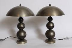 Jean Boris Lacroix Pair of Boris Lacroix Stacked Nickel Plate Brass Table Lamps with Dome Shades - 1760530