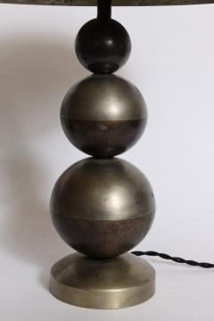 Jean Boris Lacroix Pair of Boris Lacroix Stacked Nickel Plate Brass Table Lamps with Dome Shades - 1760532