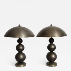 Jean Boris Lacroix Pair of Boris Lacroix Stacked Nickel Plate Brass Table Lamps with Dome Shades - 1761803