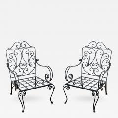 Jean Charles Moreux Pair Of Iron French Armchairs In The Style Of J C  Moreux   339169