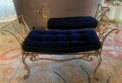 Jean Charles Moreux Pair of Jean Charles Moreux Gilt Wrought Iron Benches - 1675364