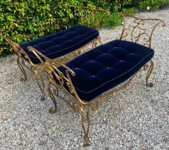 Jean Charles Moreux Pair of Jean Charles Moreux Gilt Wrought Iron Benches - 1675366
