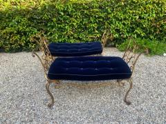 Jean Charles Moreux Pair of Jean Charles Moreux Gilt Wrought Iron Benches - 1675379
