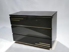 Jean Claude Mahey Dark brown lacquer and brass chest of drawers by J C Mahey 1970s - 990740