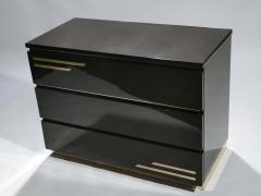 Jean Claude Mahey Dark brown lacquer and brass chest of drawers by J C Mahey 1970s - 990741