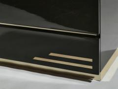 Jean Claude Mahey Dark brown lacquer and brass chest of drawers by J C Mahey 1970s - 990742