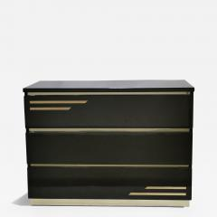 Jean Claude Mahey Dark brown lacquer and brass chest of drawers by J C Mahey 1970s - 994832