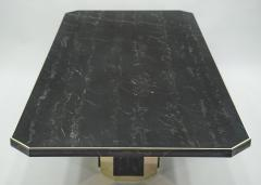 Jean Claude Mahey J C Mahey for Paco Rabanne black Portoro marble dining table brass 1979 - 1119982