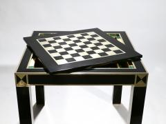 Jean Claude Mahey J C Mahey lacquered and brass game table 1970s - 989383