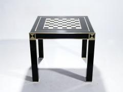 Jean Claude Mahey J C Mahey lacquered and brass game table 1970s - 989389
