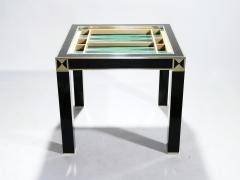 Jean Claude Mahey J C Mahey lacquered and brass game table 1970s - 989390