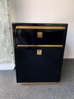 Jean Claude Mahey Lacquered and Brass Desk side box by Jean Claude Mahey France 1970s - 1039035