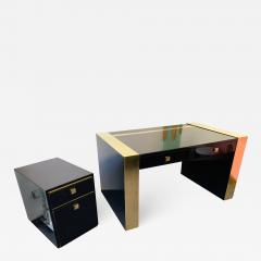 Jean Claude Mahey Lacquered and Brass Desk side box by Jean Claude Mahey France 1970s - 1039846