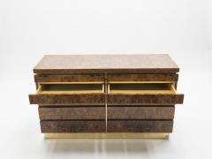 Jean Claude Mahey Large Burl lacquer and brass chest of drawers by J C Mahey 1970 s - 994559