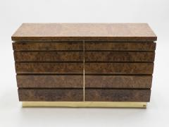 Jean Claude Mahey Large Burl lacquer and brass chest of drawers by J C Mahey 1970 s - 994560