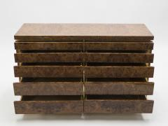 Jean Claude Mahey Large Burl lacquer and brass chest of drawers by J C Mahey 1970 s - 994562