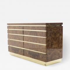 Jean Claude Mahey Large Burl lacquer and brass chest of drawers by J C Mahey 1970 s - 997442