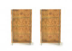 Jean Claude Mahey Pair of French J C Mahey brass and burlwood vitrines 1970s - 989474