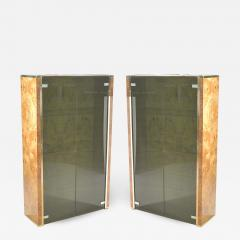 Jean Claude Mahey Pair of French J C Mahey brass and burlwood vitrines 1970s - 990919