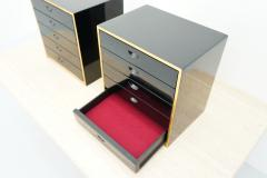 Jean Claude Mahey Pair of Jewelry Cabinets in Black Lacquer attr to Jean Claude Mahey - 2038004