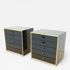 Jean Claude Mahey Pair of Jewelry Cabinets in Black Lacquer attr to Jean Claude Mahey - 2038410