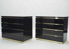 Jean Claude Mahey Pair of small black lacquer chest of drawers by J C Mahey 1970s - 1114942