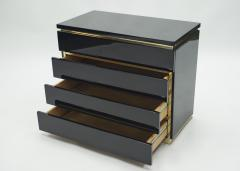 Jean Claude Mahey Pair of small black lacquer chest of drawers by J C Mahey 1970s - 1114943