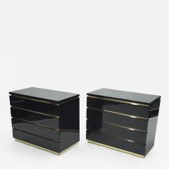 Jean Claude Mahey Pair of small black lacquer chest of drawers by J C Mahey 1970s - 1116314