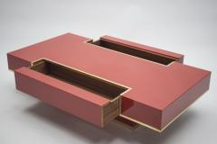 Jean Claude Mahey Rare J C Mahey red lacquer and brass coffee table 1970s - 994502