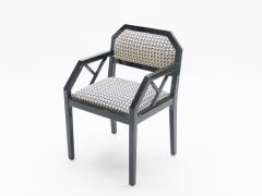 Jean Claude Mahey Rare Set of four Hollywood Regency black lacquer chairs J C Mahey 1970s - 997198