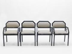 Jean Claude Mahey Rare Set of four Hollywood Regency black lacquer chairs J C Mahey 1970s - 997207
