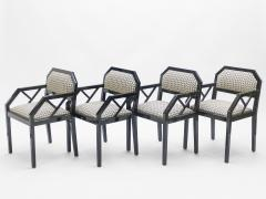 Jean Claude Mahey Rare Set of four Hollywood Regency black lacquer chairs J C Mahey 1970s - 997213