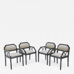 Jean Claude Mahey Rare Set of four Hollywood Regency black lacquer chairs J C Mahey 1970s - 998511