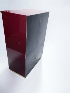 Jean Claude Mahey Red lacquer and brass cabinet by J C Mahey 1970 s - 983770