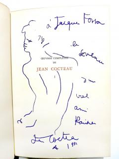 Jean Cocteau Exceptional set of complete works dedicated with 8 original endpage drawings - 1052455