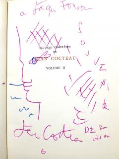 Jean Cocteau Exceptional set of complete works dedicated with 8 original endpage drawings - 1052460
