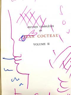 Jean Cocteau Exceptional set of complete works dedicated with 8 original endpage drawings - 1052461