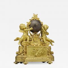 Jean Fran ois Deni re A Fine Quality Napoleon III Ormolu and Patinated Bronze Figural Mantel Clock - 1438191