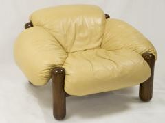 Jean Gillon Pair of armchairs in wood and leather by Jean Gillon circa 1970 - 1060847