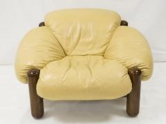 Jean Gillon Pair of armchairs in wood and leather by Jean Gillon circa 1970 - 1060848