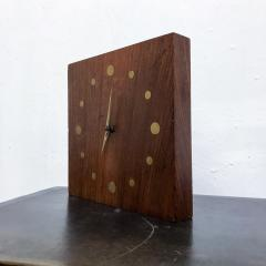 Jean Gillon Solid Rosewood and Brass Wall Clock Mid Century Modern Period - 1331095