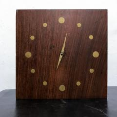 Jean Gillon Solid Rosewood and Brass Wall Clock Mid Century Modern Period - 1331096