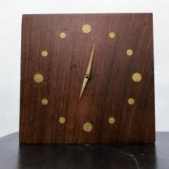 Jean Gillon Solid Rosewood and Brass Wall Clock Mid Century Modern Period - 1331097